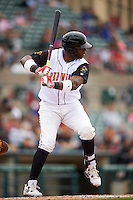 Rochester Red Wings designated hitter Kennys Vargas (35) at bat during a game against the Toledo Mudhens on June 12, 2016 at Frontier Field in Rochester, New York.  Rochester defeated Toledo 9-7.  (Mike Janes/Four Seam Images)