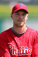 Philadelphia Phillies outfielder Hunter Pence #3 before a scrimmage against the Florida State Seminoles at Brighthouse Field on February 29, 2012 in Clearwater, Florida.  Philadelphia defeated Florida State 6-1.  (Mike Janes/Four Seam Images)