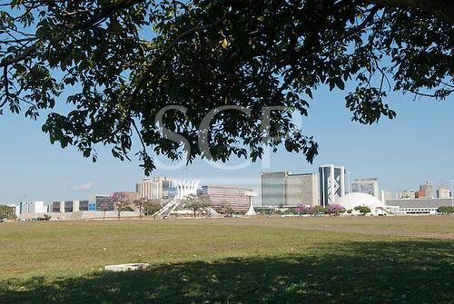 Brasilia, Brazil. The Metropolitan Cathedral of Our Lady (Catedral Metropolitana Nossa Senhora Aparecida), by architect Oscar Niemeyer, is an iconic landmark on the Ministries Esplanade.