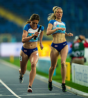 1st May 2021; Silesian Stadium, Chorzow, Poland; World Athletics Relays 2021. Day 1; Jessie Knight (GBR) passes the baton to Jessica Turner for the final leg in the ladies 4 x 400