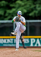 25 July 2017: Vermont Lake Monsters pitcher Parker Dunshee, a 7th round draft pick for the Oakland Athletics, on the mound against the Tri-City ValleyCats at Centennial Field in Burlington, Vermont. The Lake Monsters defeated the ValleyCats 11-3 in NY Penn League action. Mandatory Credit: Ed Wolfstein Photo *** RAW (NEF) Image File Available ***