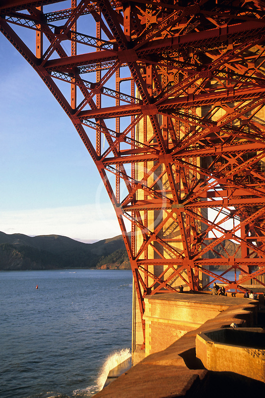 California, San Francisco, Fort Point and Golden Gate Bridge abutment