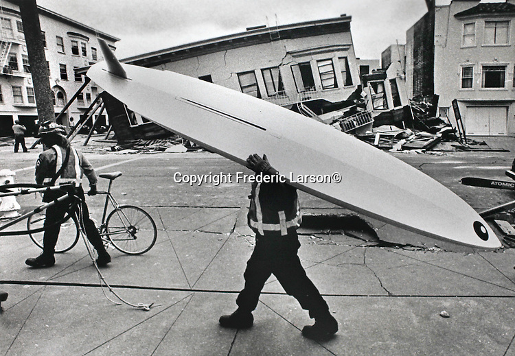 Residents of the S.F 1989 earthquake evacuated their personal belongings in the heavy damage area of the Marina district in San Francisco, California.