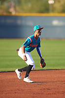 Alexander Aguila (2) of Mater Academy in Hialeah, Florida during the Baseball Factory All-America Pre-Season Tournament, powered by Under Armour, on January 14, 2018 at Sloan Park Complex in Mesa, Arizona.  (Zachary Lucy/Four Seam Images)
