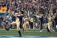 Drum Major Brian Urbaniak performs for the Pitt marching band. The Pitt Panthers football team defeated the Youngstown State Penguins 45-37 on Saturday, September 5, 2015 at Heinz Field, Pittsburgh, Pennsylvania.