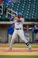 Tennessee Smokies first baseman Yasiel Balaguert (12) at bat during a game against the Birmingham Barons on August 16, 2018 at Regions FIeld in Birmingham, Alabama.  Tennessee defeated Birmingham 11-1.  (Mike Janes/Four Seam Images)