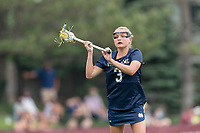 NEWTON, MA - MAY 22: Kasey Choma #3 of Notre Dame looks to pass during NCAA Division I Women's Lacrosse Tournament quarterfinal round game between Notre Dame and Boston College at Newton Campus Lacrosse Field on May 22, 2021 in Newton, Massachusetts.