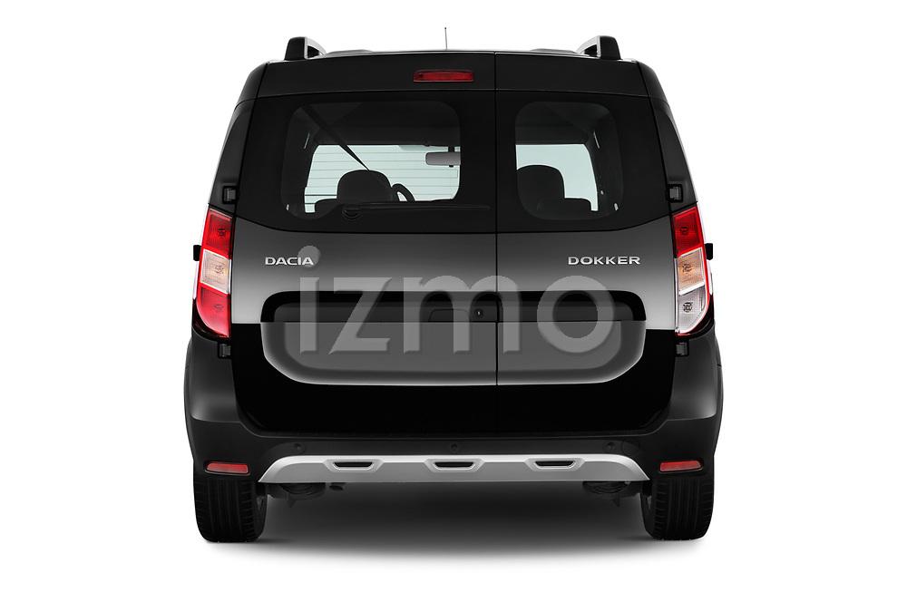 Straight rear view of a 2017 Dacia Dokker Stepway SL Explorer 5 Door Mini Van stock images