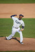 Princeton Rays relief pitcher Joe Peguero (18) delivers a pitch during the first game of a doubleheader against the Johnson City Cardinals on August 17, 2018 at Hunnicutt Field in Princeton, Virginia.  Johnson City defeated Princeton 6-4.  (Mike Janes/Four Seam Images)