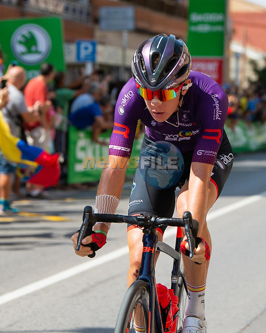Jetse Bol (NED) Burgos-BH from the breakaway during Stage 6 of La Vuelta d'Espana 2021, running 158.3km from Requena to Alto de la Montaña Cullera, Spain. 19th August 2021.    <br /> Picture: Cxcling | Cyclefile<br /> <br /> All photos usage must carry mandatory copyright credit (© Cyclefile | Cxcling)