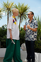 """CANNES, FRANCE - JULY 16: British actress Tilda Swinton and Thai director Apichatpong Weerasethakul at photocall for the film """"Memoria"""" at the 74th annual Cannes Film Festival in Cannes, France on July 16, 2021  <br /> CAP/GOL<br /> ©GOL/Capital Pictures"""