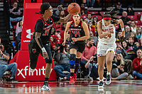 COLLEGE PARK, MD - FEBRUARY 9: Tekia Mack #31 of Rutgers moves on the attack during a game between Rutgers and Maryland at Xfinity Center on February 9, 2020 in College Park, Maryland.