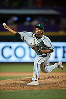 Greensboro Grasshoppers relief pitcher Oliver Garcia (37) in action against the Winston-Salem Dash at Truist Stadium on June 15, 2021 in Winston-Salem, North Carolina. (Brian Westerholt/Four Seam Images)