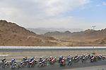 The peloton during Stage 5 of the 2021 UAE Tour running 170km from International Marine Club Fujairah to Jebel Jais, Fujairah, UAE. 25th February 2021. <br /> Picture: LaPresse/Fabio Ferrari   Cyclefile<br /> <br /> All photos usage must carry mandatory copyright credit (© Cyclefile   LaPresse/Fabio Ferrari)