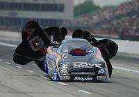 Apr. 29, 2012; Baytown, TX, USA: NHRA funny car driver Tony Pedregon during the Spring Nationals at Royal Purple Raceway. Mandatory Credit: Mark J. Rebilas-