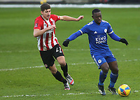 Nampalys Mendy of Leicester City in possession as Brentford's Vitaly Janelt looks on during Brentford vs Leicester City, Emirates FA Cup Football at the Brentford Community Stadium on 24th January 2021