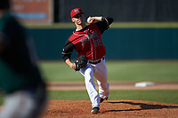Hickory Crawdads relief pitcher Grant Wolfram (36) in action against the Greensboro Grasshoppers at L.P. Frans Stadium on May 26, 2019 in Hickory, North Carolina. The Crawdads defeated the Grasshoppers 10-8. (Brian Westerholt/Four Seam Images)