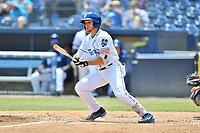 Asheville Tourists third baseman Kyle Datres (3) swings at a pitch during a game against the West Virginia Power at McCormick Field on June 2, 2019 in Asheville, North Carolina. The  Power defeated the Tourists 5-4. (Tony Farlow/Four Seam Images)