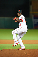 Scottsdale Scorpions pitcher Victor Alcantara (54), of the Los Angeles Angels of Anaheim organization, during a game against the Salt River Rafters on October 12, 2016 at Scottsdale Stadium in Scottsdale, Arizona.  Salt River defeated Scottsdale 6-4.  (Mike Janes/Four Seam Images)