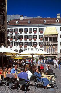 Austria, Tyrol, Innsbruck: Old Town, Goldenes Dachl and cafes