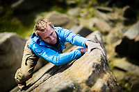 Leo Houlding soloing 'Don' E4 5c, Stanage, United Kingdom.