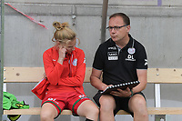 assistant coach Steven Camelbeke of Zulte Waregem with Laura Vervacke (20) of Zulte Waregem  pictured before a female soccer game between SV Zulte - Waregem and Club Brugge YLA on the fourth matchday of the 2021 - 2022 season of the Belgian Scooore Womens Super League , saturday 11 of September 2021  in Harelbeke , Belgium . PHOTO SPORTPIX | DIRK VUYLSTEKE