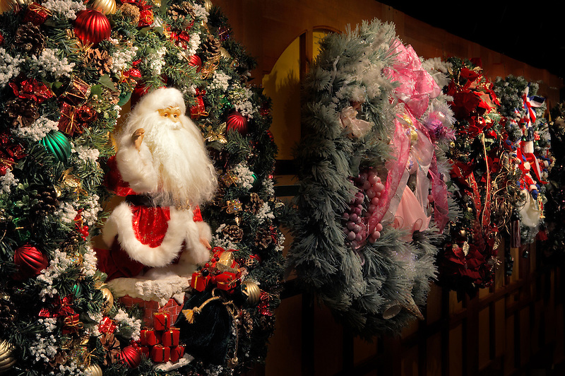 Christmas wreaths one with santa. Providence Festival of Trees. Portland. Oregon