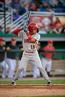 Auburn Doubledays Jesus Morales (13) bats during a NY-Penn League game against the Batavia Muckdogs on June 14, 2019 at Dwyer Stadium in Batavia, New York.  Batavia defeated 2-0.  (Mike Janes/Four Seam Images)