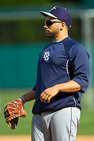 Tampa Bay Rays first baseman James Loney (21) during batting practice prior to the game against the Detroit Tigers at Comerica Park on June 4, 2013 in Detroit, Michigan.  The Tigers defeated the Rays 10-1.  Brian Westerholt/Four Seam Images