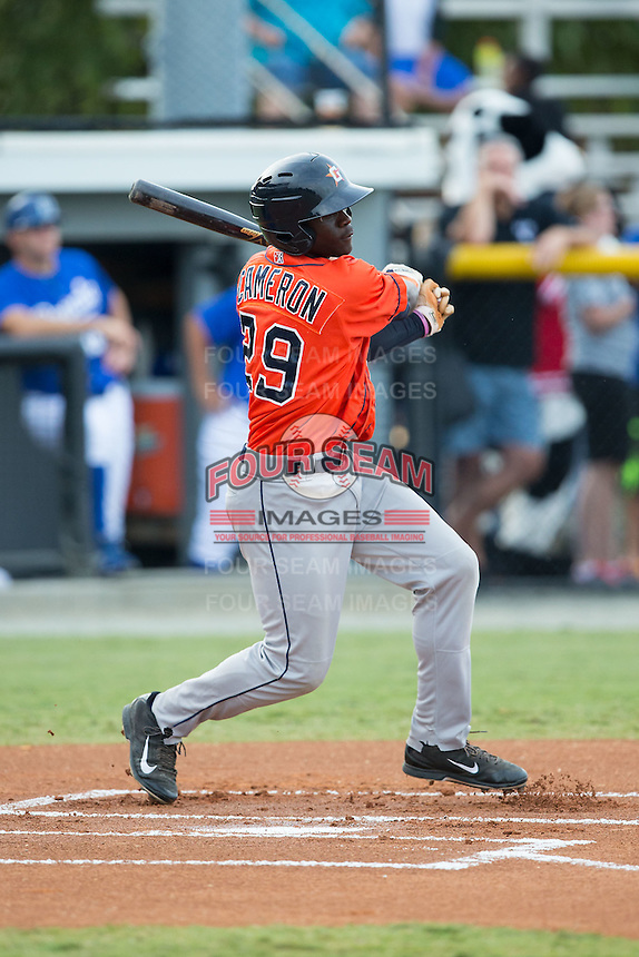 Daz Cameron (29) of the Greeneville Astros follows through on his swing against the Burlington Royals at Burlington Athletic Park on August 29, 2015 in Burlington, North Carolina.  The Royals defeated the Astros 3-1. (Brian Westerholt/Four Seam Images)