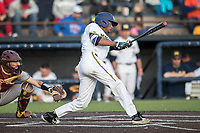 Michigan Wolverines outfielder Johnny Slater (25) swings the bat against the Central Michigan Chippewas on May 9, 2017 at Ray Fisher Stadium in Ann Arbor, Michigan. Michigan defeated Central Michigan 4-2. (Andrew Woolley/Four Seam Images)