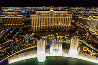 Las Vegas, Nevada at Night.  The Bellagio Fountains  from the Eiffel Tower.