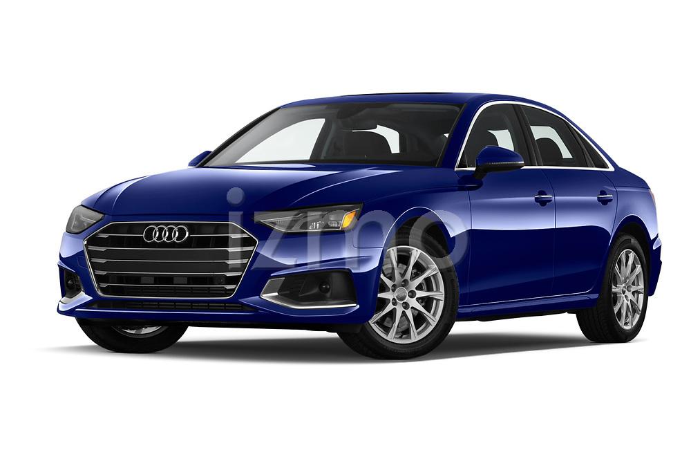 Stock pictures of low aggressive front three quarter view of 2020 Audi A4-Sedan Premium 4 Door Sedan Low Aggressive