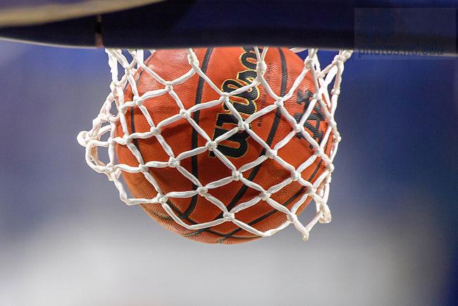 February 25, 2021; Basketball going through the net at a Women's Basketball game (Photo by Matt Cashore/University of Notre Dame)