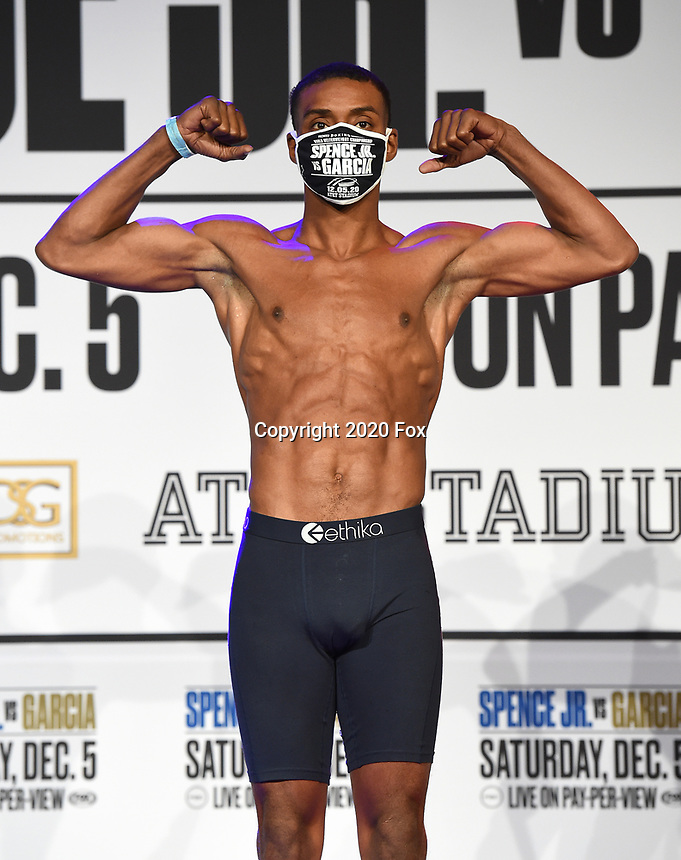 DALLAS, TX - DECEMBER 4: Errol Spence Jr. attends the weigh-in for the Errol Spence Jr. vs Danny Garcia December 5, 2020 Fox Sports PBC Pay-Per-View fight night at AT&T Stadium in Arlington, Texas. (Photo by Frank Micelotta/Fox Sports)