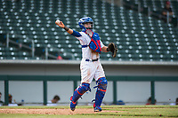 Mesa Solar Sox catcher P.J. Higgins (12), of the Chicago Cubs organization, throws during an Arizona Fall League game against the Peoria Javelinas at Sloan Park on October 11, 2018 in Mesa, Arizona. Mesa defeated Peoria 10-9. (Zachary Lucy/Four Seam Images)