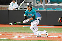 University of Coastal Carolina Chanticleers center fielder Billy Cooke (17) at bat during a game against the University of Virginia Cavaliers at Springs Brooks Stadium on February 21, 2016 in Conway, South Carolina. Coastal Carolina defeated Virginia 5-4. (Robert Gurganus/Four Seam Images)