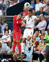 KANSAS CITY, KS - JUNE 26: Daniel Lovitz #16 and Francisco Palacios #2 go up for a header during a game between Panama and USMNT at Children's Mercy Park on June 26, 2019 in Kansas City, Kansas.