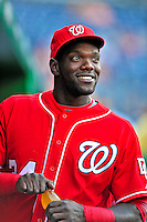 6 June 2009: Washington Nationals' outfielder Elijah Dukes awaits the start of play in the dugout prior to a game against the New York Mets at Nationals Park in Washington, DC. The Nationals defeated the Mets 7-1, marking pitcher John Lannan's first complete game of his career. Mandatory Credit: Ed Wolfstein Photo