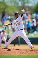 Montgomery Biscuits starting pitcher Jose Mujica (23) delivers a pitch during a game against the Mississippi Braves on April 25, 2017 at Montgomery Riverwalk Stadium in Montgomery, Alabama.  Mississippi defeated Montgomery 3-2.  (Mike Janes/Four Seam Images)