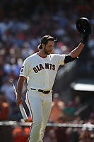 SAN FRANCISCO, CA - SEPTEMBER 29:  Madison Bumgarner #40 of the San Francisco Giants waves his helmet to the crowd after his at bat against the Los Angeles Dodgers during the game at Oracle Park on Sunday, September 29, 2019 in San Francisco, California. (Photo by Brad Mangin)