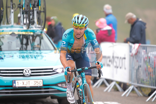 Alexey Lutsenko (KAZ) Astana-Premier Tech rounds the final hairpin on Col du Portet during Stage 17 of the 2021 Tour de France, running 178.4km from Muret to Saint-Lary-Soulan Col du Portet, France. 14th July 2021.  <br /> Picture: Colin Flockton | Cyclefile<br /> <br /> All photos usage must carry mandatory copyright credit (© Cyclefile | Colin Flockton)