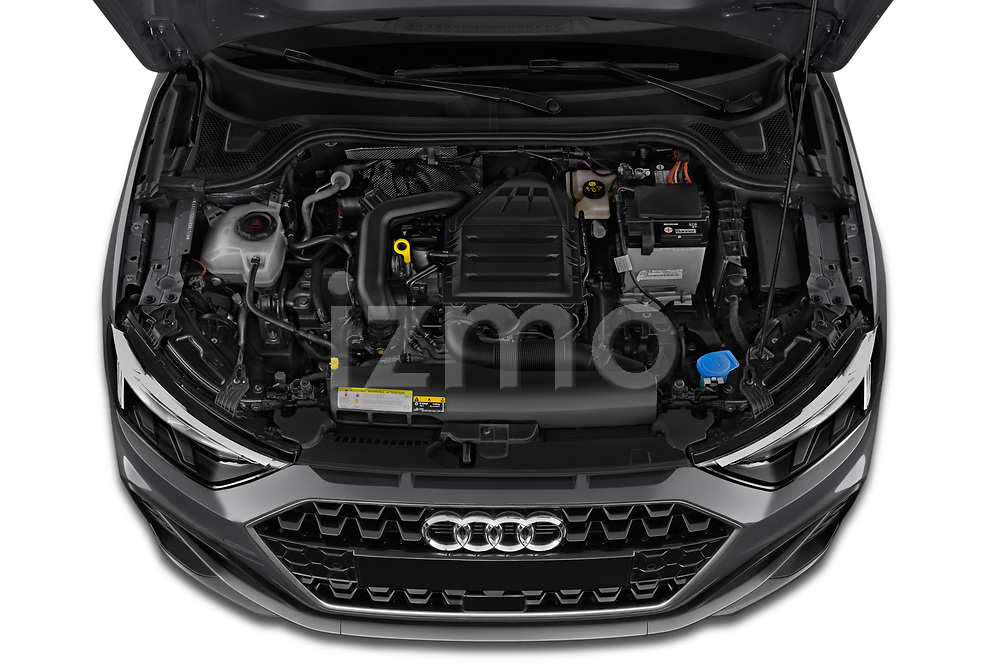 Car Stock 2019 Audi A1-Sportback S-Line 5 Door Hatchback Engine  high angle detail view