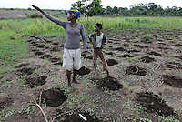 MOZAMBIQUE, Chimoio, BAGC Beira agricultural growth corridor, failed and abandoned 2000 hectare Jatropha farm of Sun Biofuels Mozambique SA which was planted as biofuel project in 2010 at old portuguese tobacco farm, the plan was to reach 10.000 hectares in 2015, small scale farmer ANORIA VURANDE and her daughter  TCHERTI plant maize / MOSAMBIK, Chimoio, BAGC Beira agricultural growth corridor, gescheiterte und aufgegebene 2000 Hektar Jatropha Farm of Sun Biofuels Mozambique SA, die 2010 als Biosprit Projekt auf einer alten Tabakplantage gepflanzt wurde, laut Planung sollte die Pflanzung 2015 auf 10.000 Hektar ausdehnt werden, Frau ANORIA VURANDE mit ihrer Tochter TCHERTI saehen erstmal wieder Mais aus