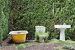Outdoor Bathroom in Garden, Oregon Gardens, Silverton, Oregon, USA, an 80 acre botanical garden in the Willamette Valley.