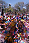 Colorful dancers fill Civic Center Park during a Cinco de Mayo celebration, Denver, CO
