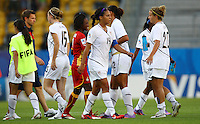 USA's Sydney Leroux (C) reacts after the game during the FIFA U20 Women's World Cup at the Rudolf Harbig Stadium in Dresden, Germany on July 14th, 2010.