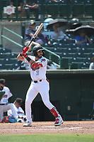 Jose Guzman (3) of the Inland Empire 66ers bats against the Fresno Grizzlies at San Manuel Stadium on May 25, 2021 in San Bernardino, California. (Larry Goren/Four Seam Images)