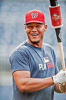 21 September 2018: Washington Nationals catcher Pedro Severino awaits his turn in the batting cage prior to a game against the New York Mets at Nationals Park in Washington, DC. The Mets defeated the Nationals 4-2 in the second game of their 4-game series. Mandatory Credit: Ed Wolfstein Photo *** RAW (NEF) Image File Available ***