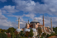 Converted Hagia Sophia mosque on a bright summer day, Istanbul, Turkey